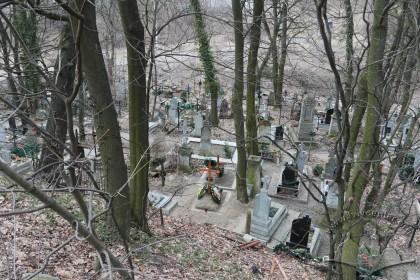 Вигляд передньої частини цвинтаря від вулиці Заклинських. Вигляд із пагорба на захід  від цвинтаря