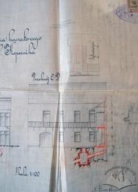 Проект підключення попереднього будинку до каналізації. Фрагмент тильного фасаду