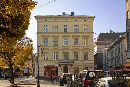 Vul. Halytska, 20. The building's main (northeastern facade)