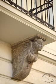 Vul. Halytska, 20. One of the balcony consoles, carved in white stone