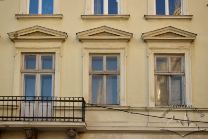 Vul. Halytska, 20. 2nd floor windows on the principal facade preserving the woodwork from the 2nd half of 19th c.