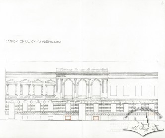 Principal elevation in 1933. Drawing by Rudolf Polt