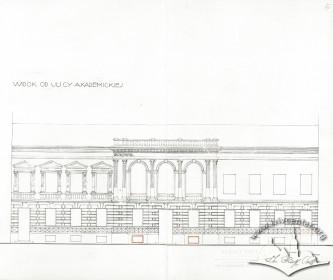 Чільний фасад будинку Казино. Креслення Рудольфа Польта (1933 р.)