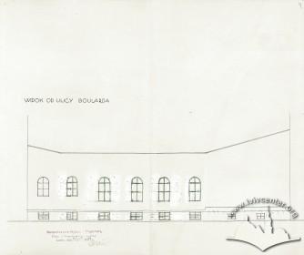 Rear facade, a drawing by Rudolf Polt (1933)