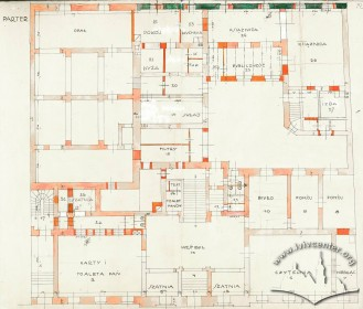 Ground floor plan with proposed changes in planning. Drawing by Rudolf Polt (1933)