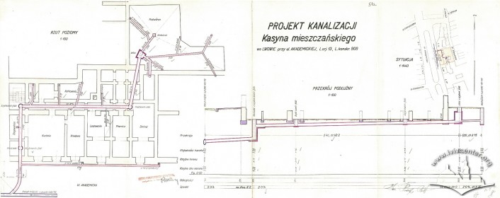 Connection of the building to the city sewage system. Drawing by Rudolf Polt (1933)