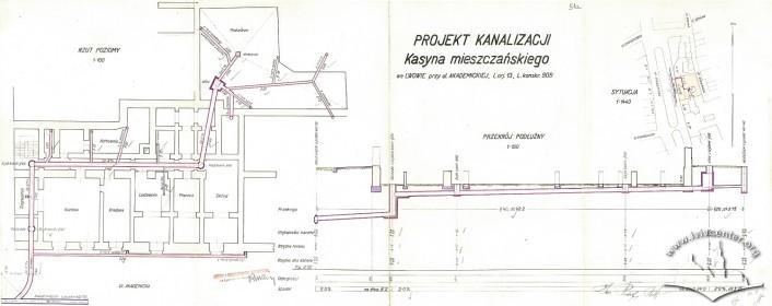Проект каналізації 1933 р. Креслення Рудольфа Польта