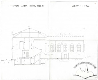Transverse section thorough the main hall, showing the existing building. Drawing from the period of German Occupation, likely from 1941