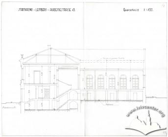 Розріз будинку вздовж головної зали, існуючий стан. Креслення з періоду німецької окупації, вірогідно 1941 р.