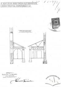 Вул. Коперника, 9. Поперечний розріз проектованого критого коридору в подвір'ї кінотеатру