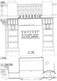 """Вул. Коперника, 9. Проект неонової реклами. Передбачається  неоновий надпис """"Kopernik"""" на фризі під балконом,влаштування підсвітки декору пілястр (фасад)"""