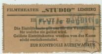 """Квитки кінотеатру """"Студіо"""" на польській та німецькій мові.1941-1944 рр."""