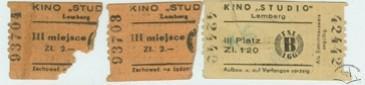 """Білети кінотеатру """"Студіо"""" на польській та німецькій мові.1941-1944 рр."""