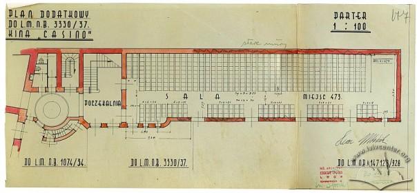 Креслення плану першого поверху кінотеатру, 1937 р.