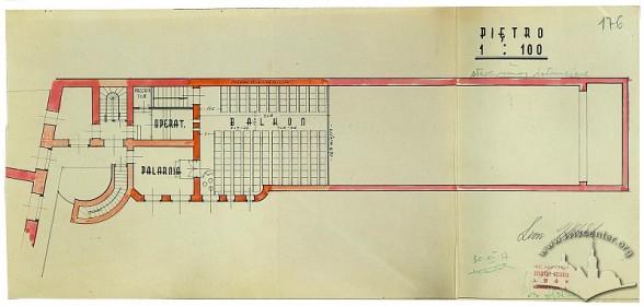 Креслення плану другого поверху кінотеатру, 1937 р.