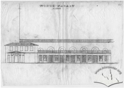 Креслення бічного фасаду, варіант проектного рішення, 1929 р.