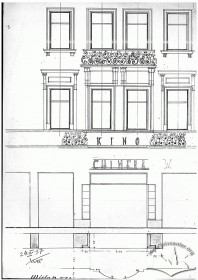 Пр. Шевченка, 8. Креслення головного фасаду з вхідною частиною (фрагмент)