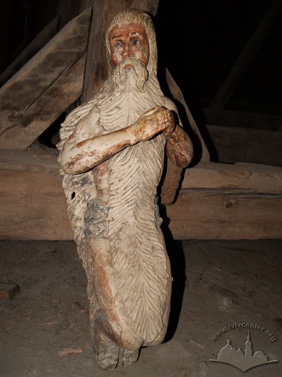 Vul. Khmelnytskoho, 36. Wooden figure of st. Onuphrius by sculptor Lazar Paslavskyi (1770s). Until 1990s it was situated in an ambon by the northern wall of the nave./Photo courtesy of Oksana Boyko, 2012