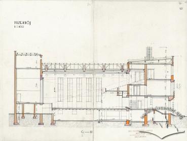 Поздовжній розріз із оригінального проекту будинку Тадеуша Врубеля
