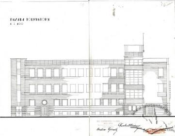 Південний фасад з оригінального проекту будинку Тадеуша Врубеля