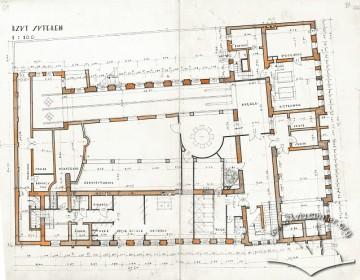 План сутерен (цокольного поверху) з оригінального проекту будинку Тадеуша Врубеля