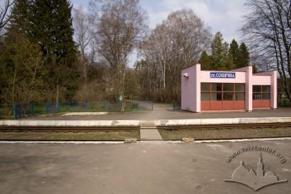 Вул. Стрийська. Станція дитячої залізниці в південній частині парку. Раніше в цих місцях розташовувався стадіон українського спортивного товариства «Сокіл-Батько»