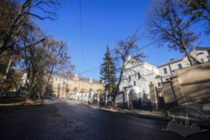 Вул. Короленка, 1. Вигляд комплексу з вул. Короленка у напрямку вул. Лисенка