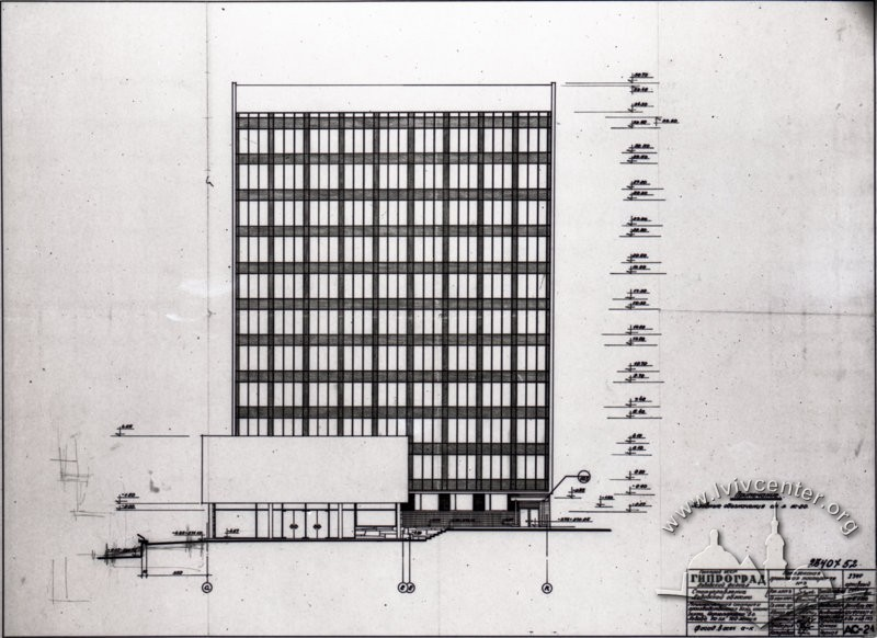 Draft of the building's southern facade/Author – Myron Venzylovych, architect (from Venzylovych family archive)