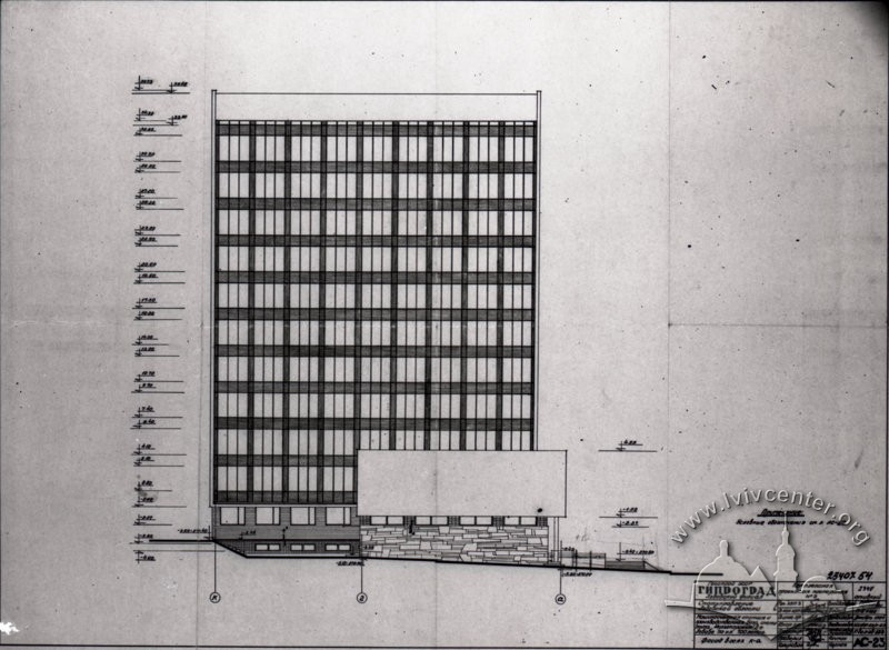 Draft of the building's northern facade/Author – Myron Venzylovych, architect (from Venzylovych family archive)
