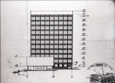 Draft of the building's southern facade