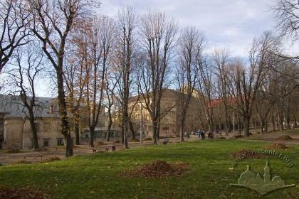 Pidvalna/Vynnychenka greenway, north side.