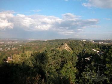 Знесінська гряда і масив ландшафтного парку «Знесіння», вид з Замкової гори.