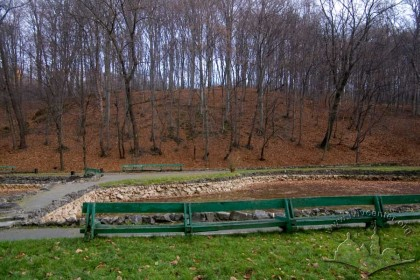 Pohulianka Park:  play area near an artificial pond