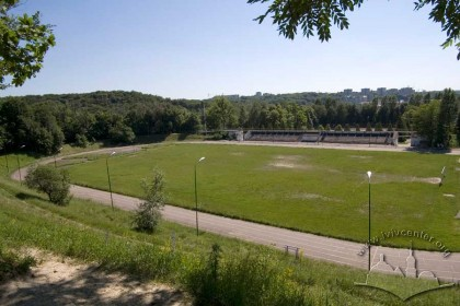 Lviv University Stadium:  Pohulianka Park in the distance