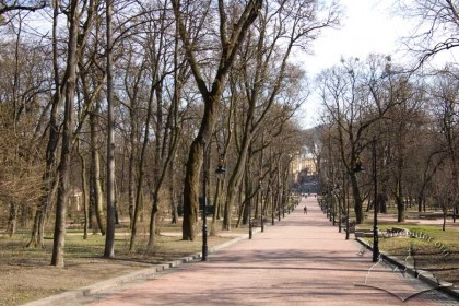 Ivan Franko Park, central lane/alley.  In the distance, Sichovykh Striltsiv Street.