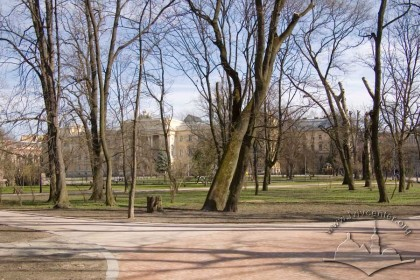 Ivan Franko Park, lower terrace.  Beyond the treeline, University.