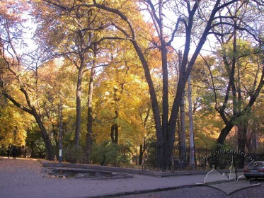 Ivan Franko Park, autumn.  Entrance to the central lane from Mateyka Street.Assymetrical lane sketches of the upper park.