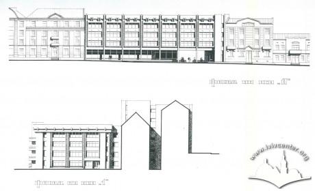 Фасад з вул. Генерала Чупринки (зверху), бічний фасад з господарського подвір'я (знизу)