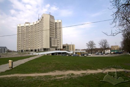 Vul. Stryiska, 35. The former sports complex was situtated here, where the State Tax Service of Ukraine building stands now.