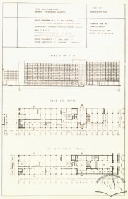 Principal elevation, 1st floor and basement plans of the academic building #2