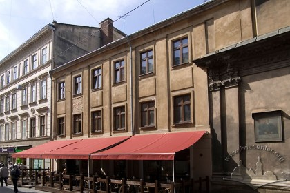 Vul. Halytska, 4. View of the building amidst the adjoining terraced houses