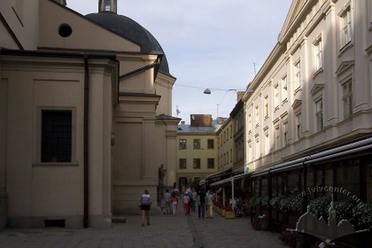 View of Katedralna sq. The rear facade of the house is in the center of the photo