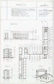 Principal elevation, plans, and sections of the academic building #1