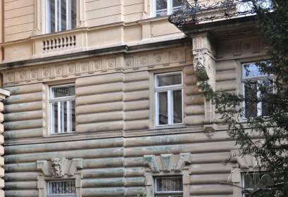 Vul. Sichovykh Striltsiv, 16. Part of the southwestern facade which faces vul. Universytetska