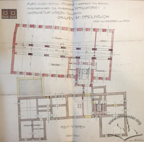 Нереалізований проект прибудови друкарні з тилу будинку, розроблений Збіґнєвом Брохвіч-Левинським у 1913 р.