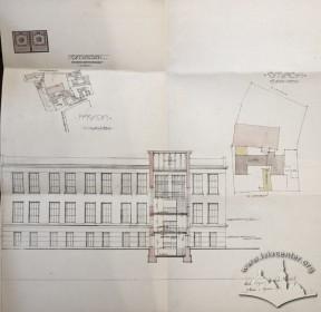 Нереалізований проект прибудови друкарні з тилу будинку, розроблений Збіґнєвом Брохвіч-Левинським у 1913 р. Фасад проектованого будинку