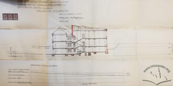Нереалізований проект прибудови друкарні з тилу будинку, розроблений Збіґнєвом Брохвіч-Левинським у 1913 р. Розріз по ділянці