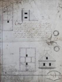 Проект двох мурованих будинків на ділянці з 1823 р., виконаний для власника др. Ґанталеона Лозинського