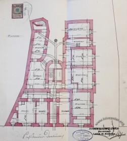 План пивниць із схемою підключення будинку до каналізаційних мереж (проект 1909 р.)