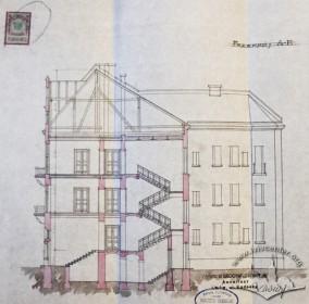 Поперечний розріз будинку (проект 1909 р.)